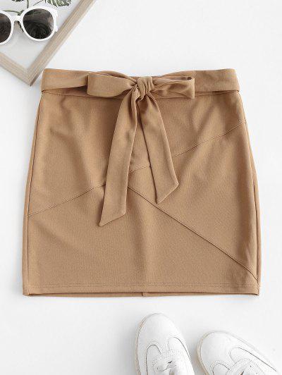 ZAFUL Self Tie Bowknot Mini Skirt - Tan S