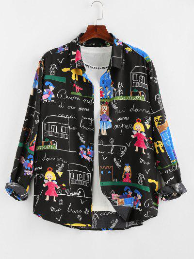 ZAFUL Cartoon Pastel Print Long Sleeve Shirt - Black 2xl