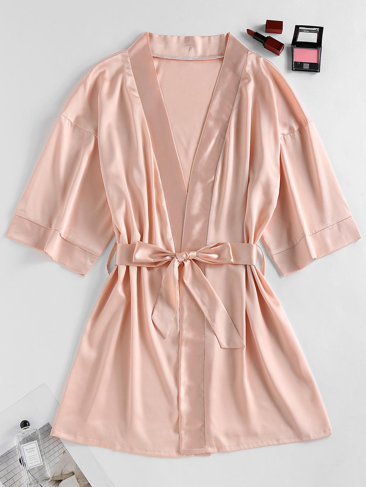 ZAFUL Satin Drop Shoulder Belted Pajama Robe