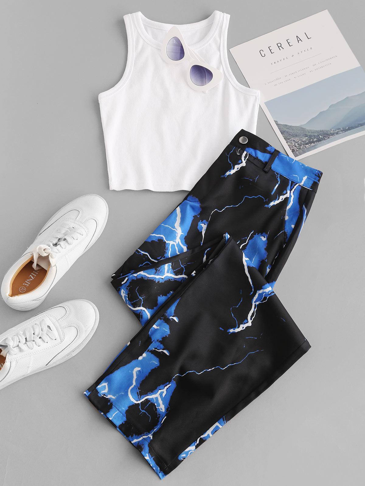 Lightning Print Wide Leg Two Piece Pants Set