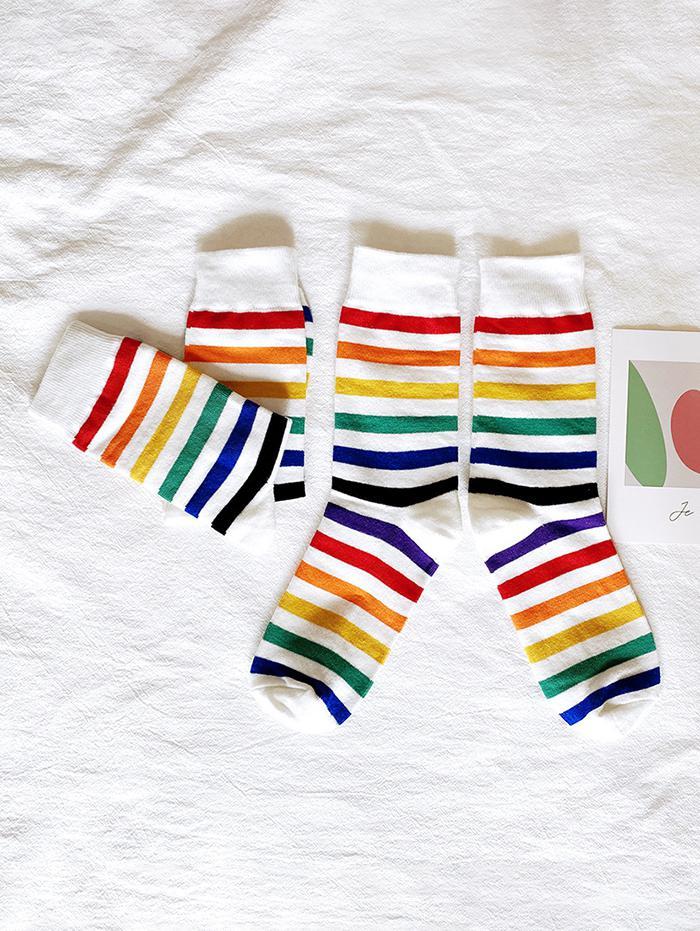 2 Pairs Rainbow Color Stripes Socks Set