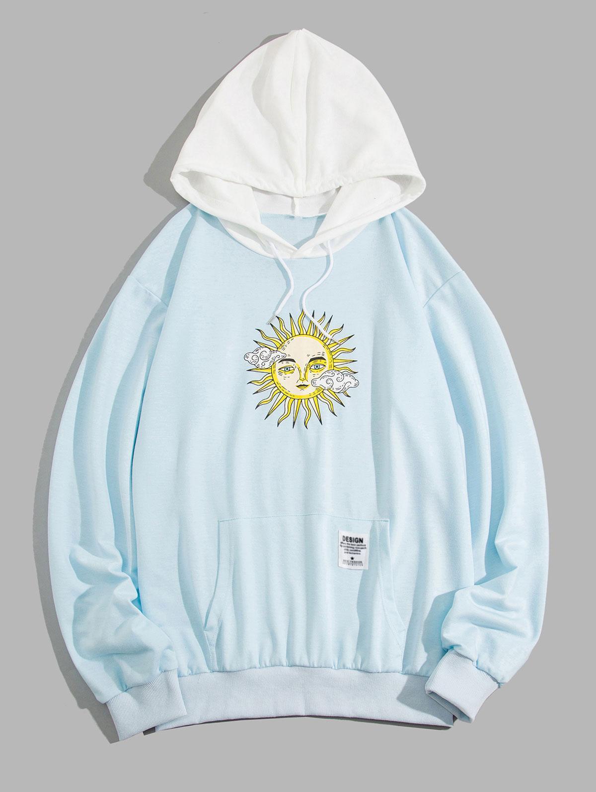 ZAFUL Celestial Sun Print Colorblock Hoodie, Light blue