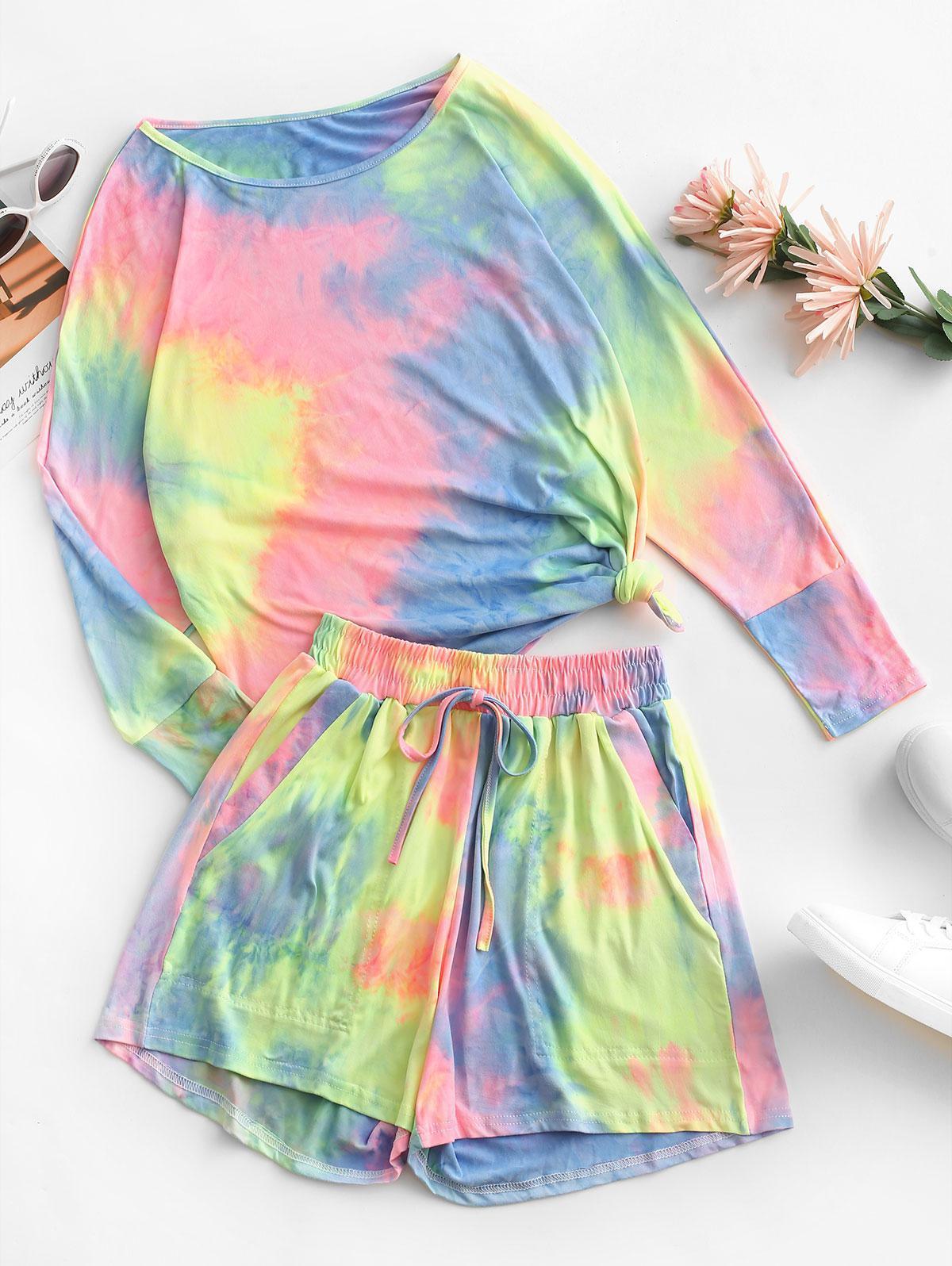 Dolman Sleeve Tie Dye Two Piece Set