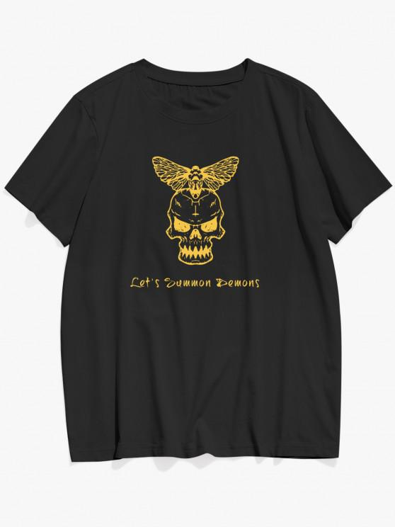 Skull And Butterfly Slogan Print Basic T Shirt - أسود XL