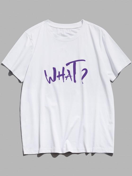 What Letter Print Short Sleeve Basic T Shirt - أبيض S