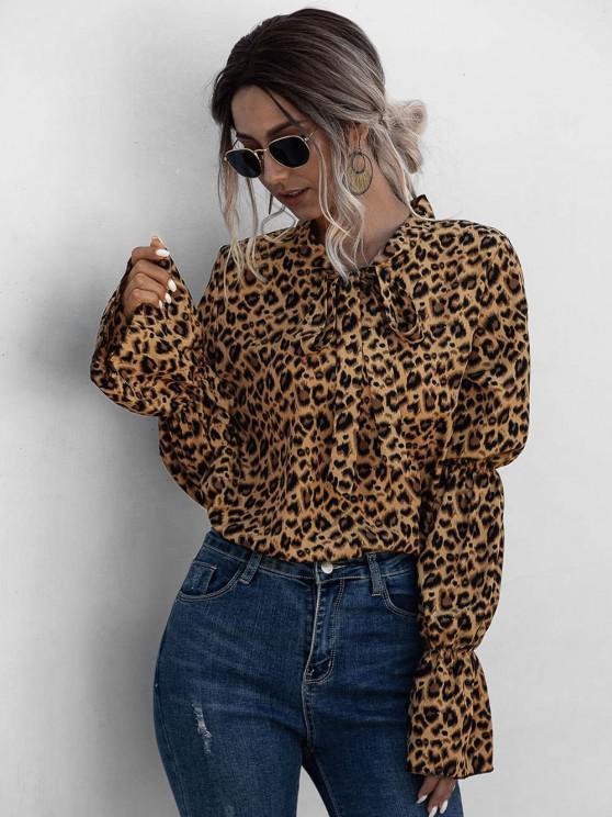 chic Leopard Bowtie Collar Ruffle Cuff Blouse - MULTI S