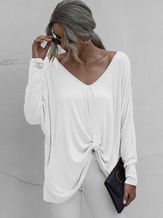 Camiseta Plus-size com Ombro Caído - Branco L