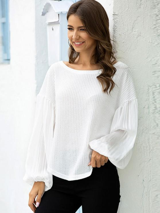 Lantern See Thru Sleeve Drop Shoulder Knitwear - أبيض S