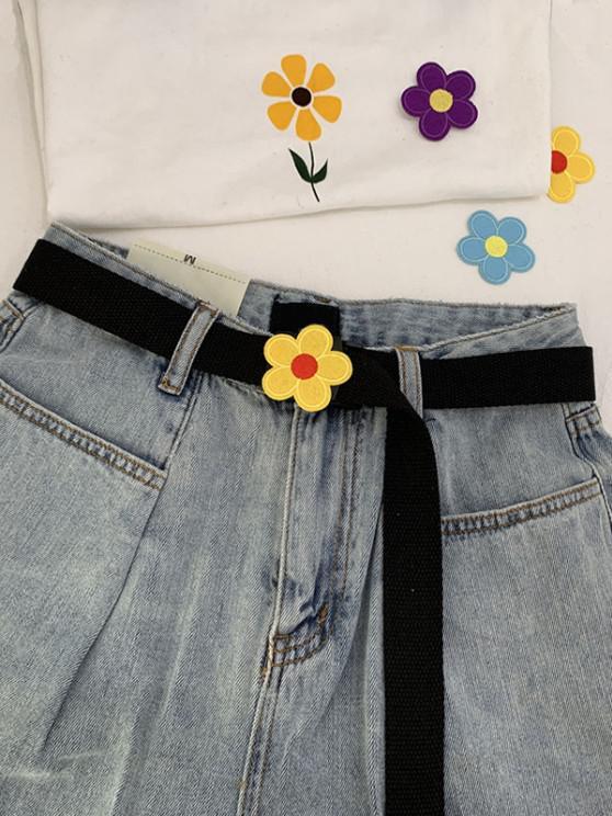 best Canvas Flower Pattern Buckle Belt - MULTI-A