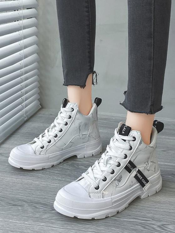 lady Lace Up Camouflage Sports Boots - WHITE EU 39