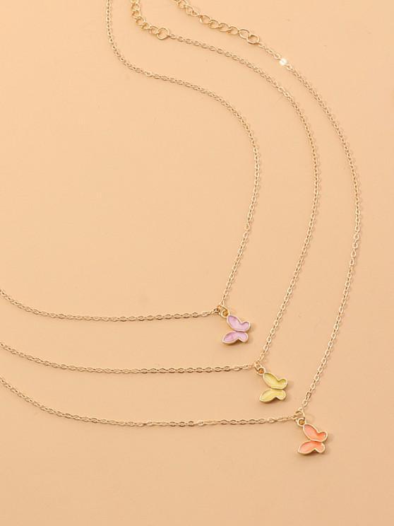 3Pcs Butterfly Pendant Necklace Set - ذهبي