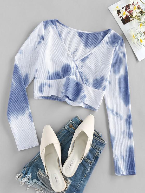 lady ZAFUL Ribbed Cloud Tie Dye Crop Tee - WHITE L