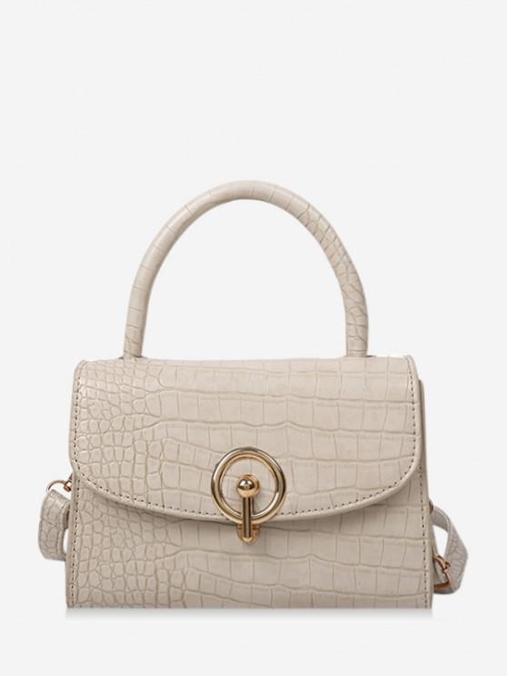 latest Textured Hasp Cover Rectangle Handbag - WHITE