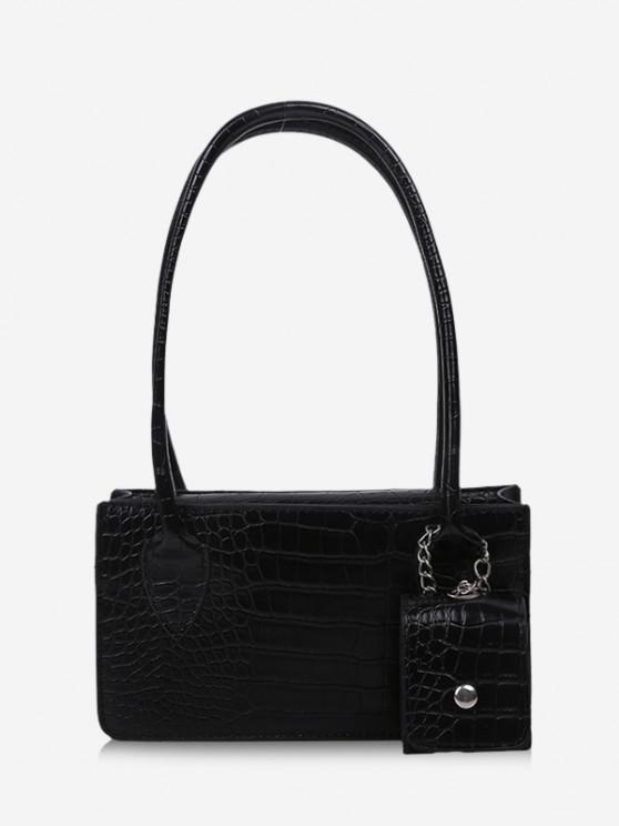 fashion Rectangle Textured Pendant Shoulder Bag - BLACK