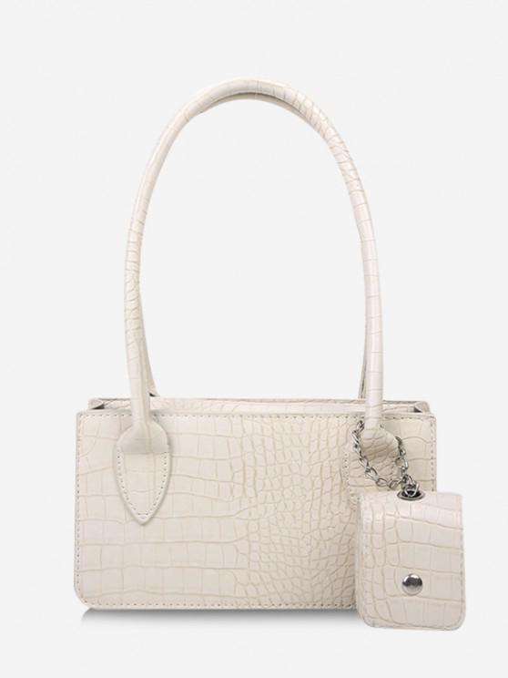 fancy Rectangle Textured Pendant Shoulder Bag - WHITE