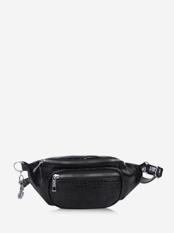 trendy Textured Chest Crossbody Bag - BLACK