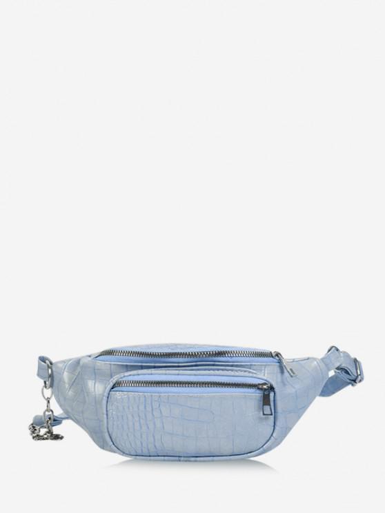 fancy Textured Chest Crossbody Bag - LIGHT BLUE