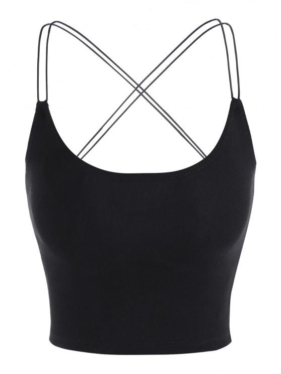 shop Strappy Criss Cross Ribbed Bungee Tank Top - BLACK M
