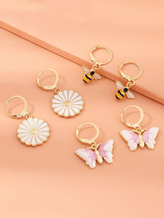 3 Pairs Butterfly Daisy Bee Drop Earrings - ذهبي