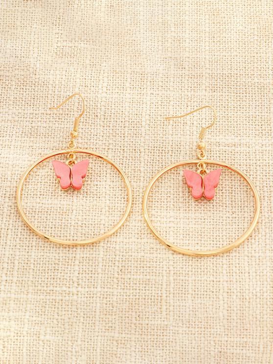 best Butterfly Pendant Circular Earrings - WATERMELON PINK
