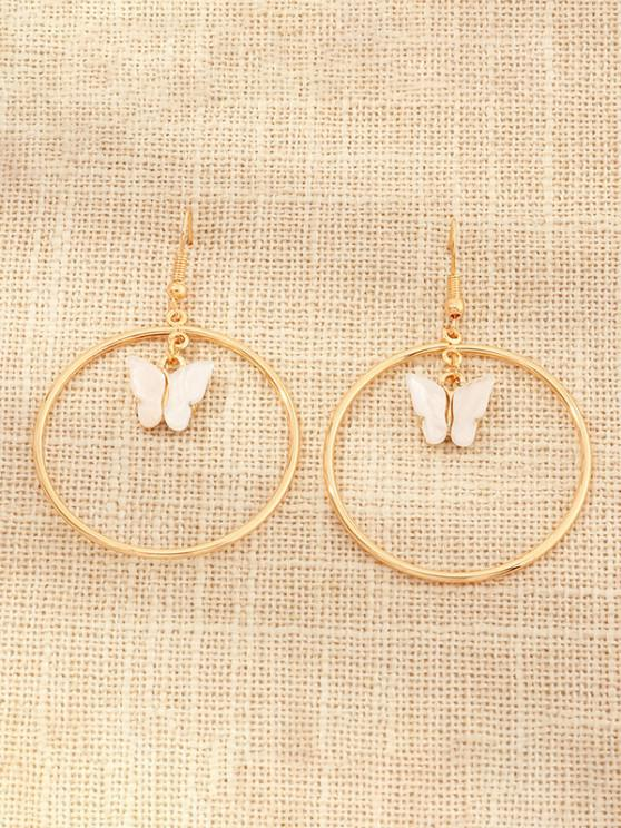 online Butterfly Pendant Circular Earrings - WHITE