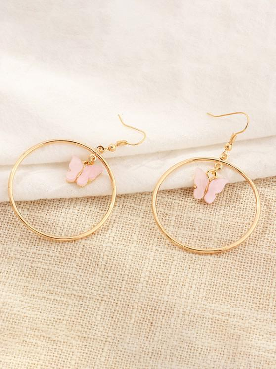 outfit Butterfly Pendant Circular Earrings - LIGHT PINK