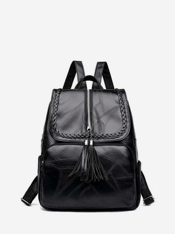outfits Tassel Quilted Braid Design Backpack - BLACK
