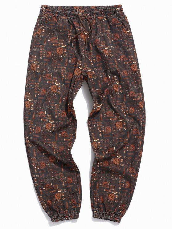 ZAFUL Tribal Pattern Beam Feet Pants - القهوة العميقة XL