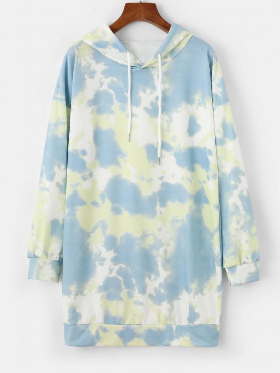sale Casual Tie Dye Drawstring Hoodie Dress - MULTI-A S