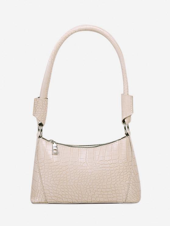 ladies Solid Textured Shoulder Bag - WHITE