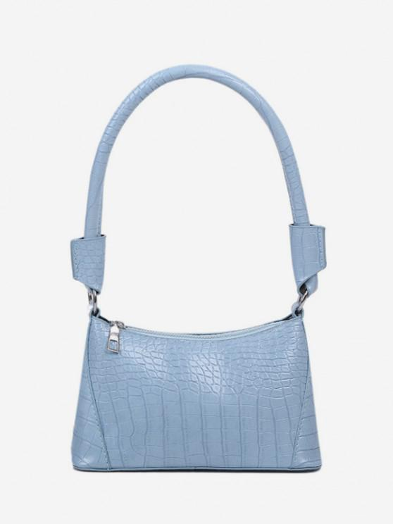 lady Solid Textured Shoulder Bag - LIGHT BLUE