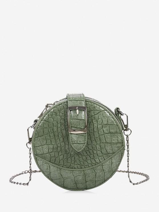 trendy Animal Embossed Buckled Mini Round Crossbody Bag - LIGHT GREEN