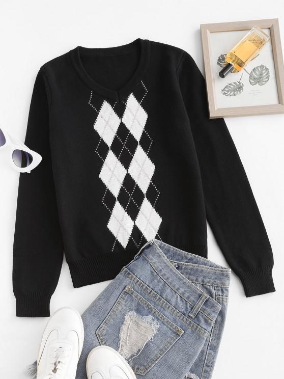 Argyle Graphic Knit V Neck Sweater - أسود S