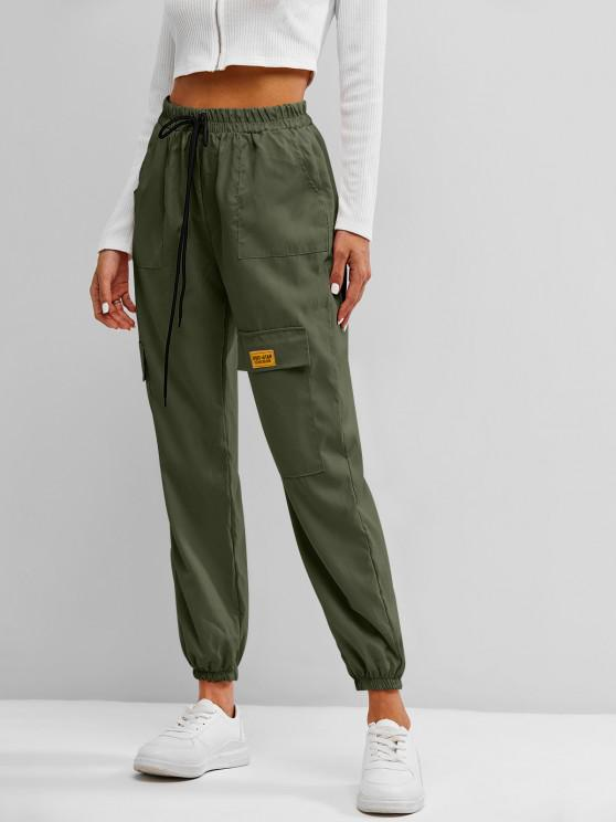 affordable Letter Applique Bowknot Detail Cargo Pants - GREEN M