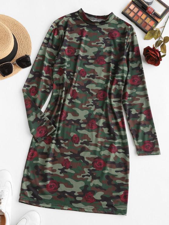 buy Rose Camouflage Long Sleeve Mini Dress - DEEP GREEN M
