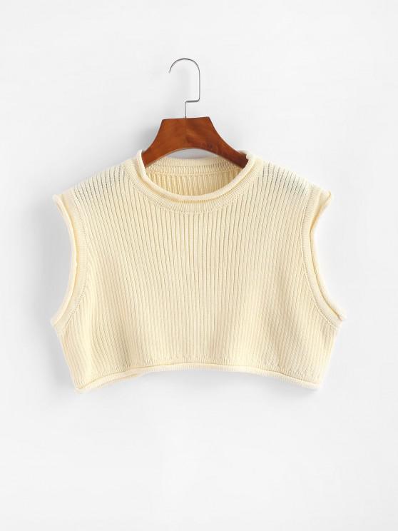 Rolled Edge Cropped Vest Sweater - الأبيض الدافئ M