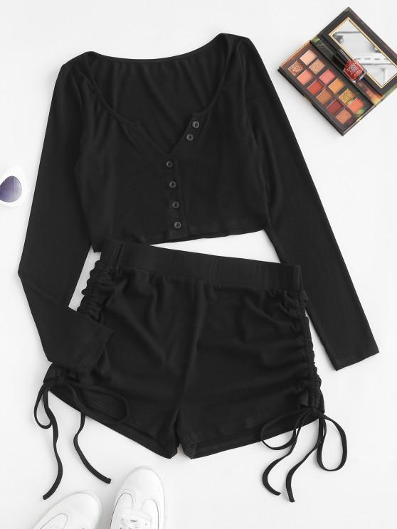 fancy ZAFUL Ribbed Crop Tee and Cinched Shorts Two Piece Set - BLACK S