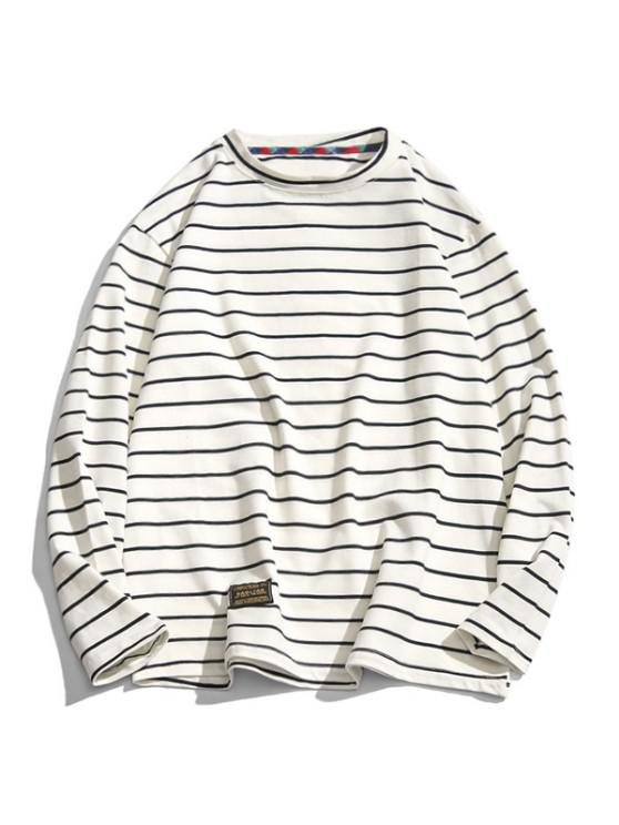 Long Sleeve Stripes Letter Patched T-shirt - أبيض 2XL