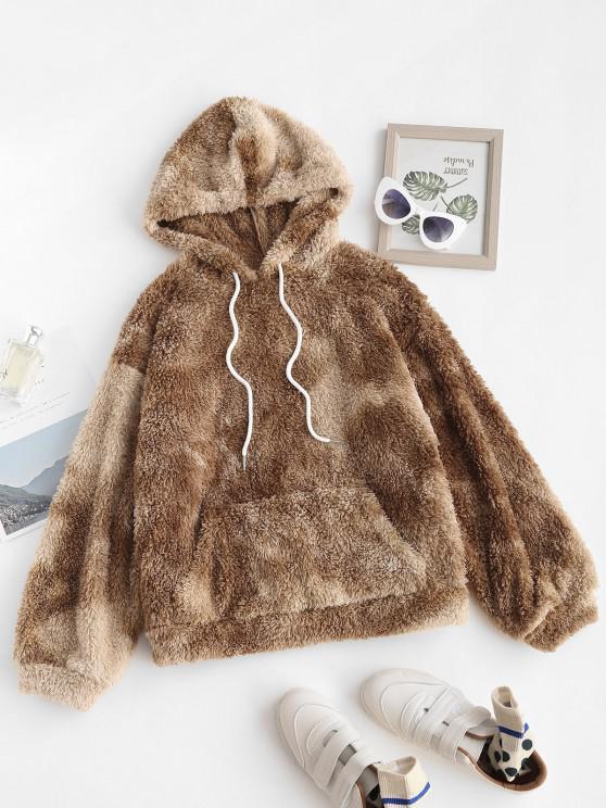 lady ZAFUL Tie Dye Faux Fur Teddy Hoodie - TAN S