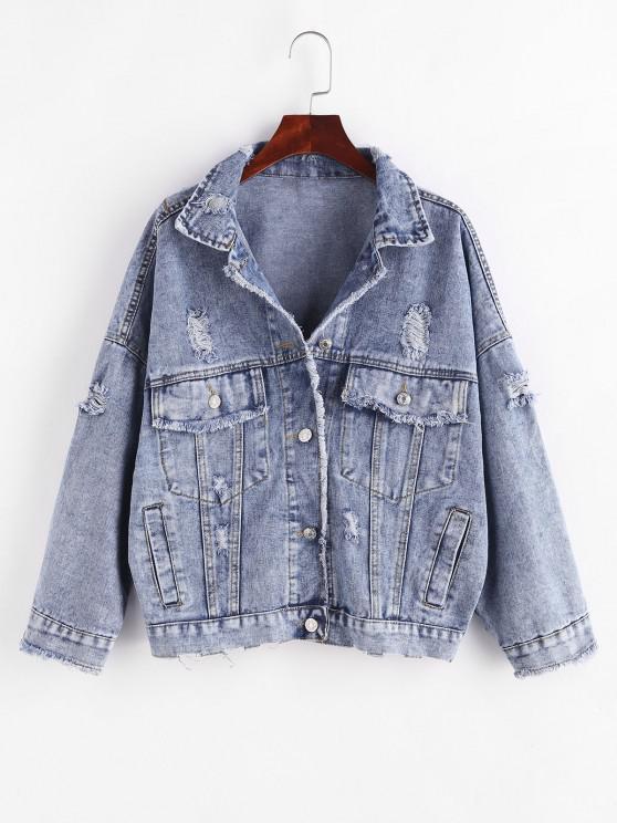 shop Button Up Frayed Distressed Denim Jacket - BLUE S
