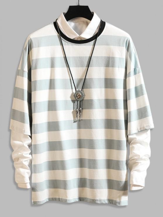 Long Sleeve Stripes Camo T-shirt - أزرق فاتح XL