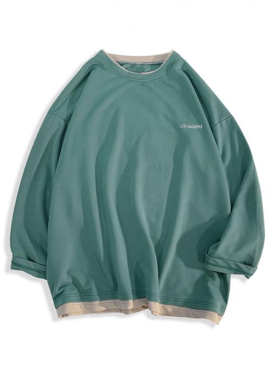 Letter Embroidery Long Sleeve Double Hem T-shirt - ازرق مخضر S