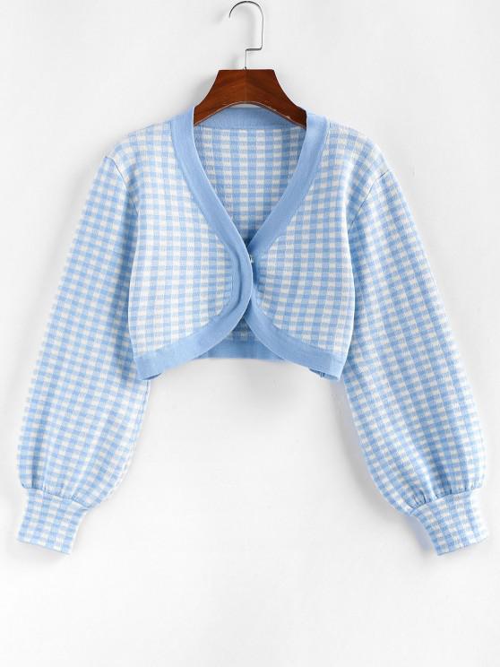 sale ZAFUL Plaid Cropped Cardigan - LIGHT BLUE L