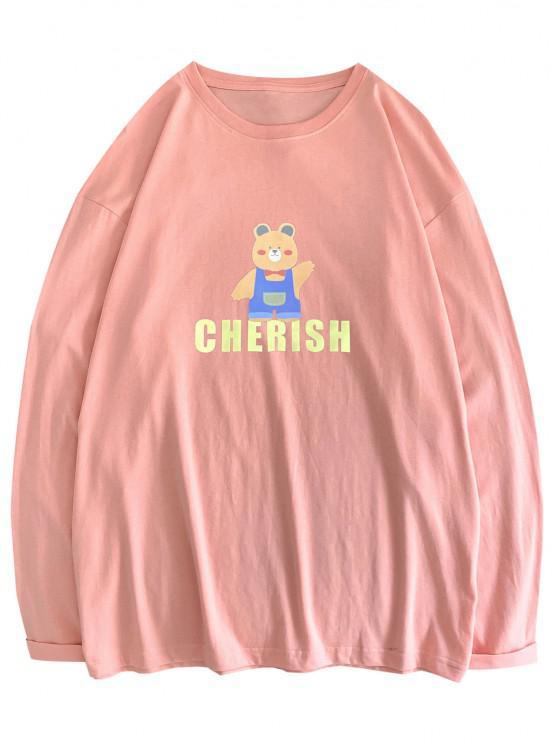 buy Bear Cherish Pattern Long Sleeve T-shirt - PINK 2XL