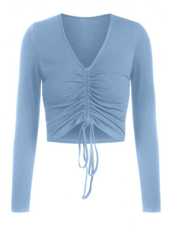 shops ZAFUL Ribbed Cinched Fitted Plunging T-shirt - BLUE S
