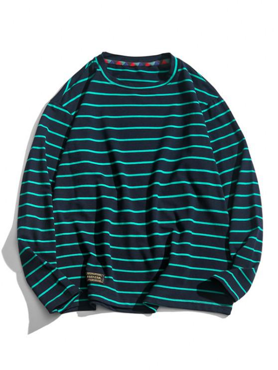 fashion Long Sleeve Stripes Letter Patched T-shirt - CADETBLUE 2XL