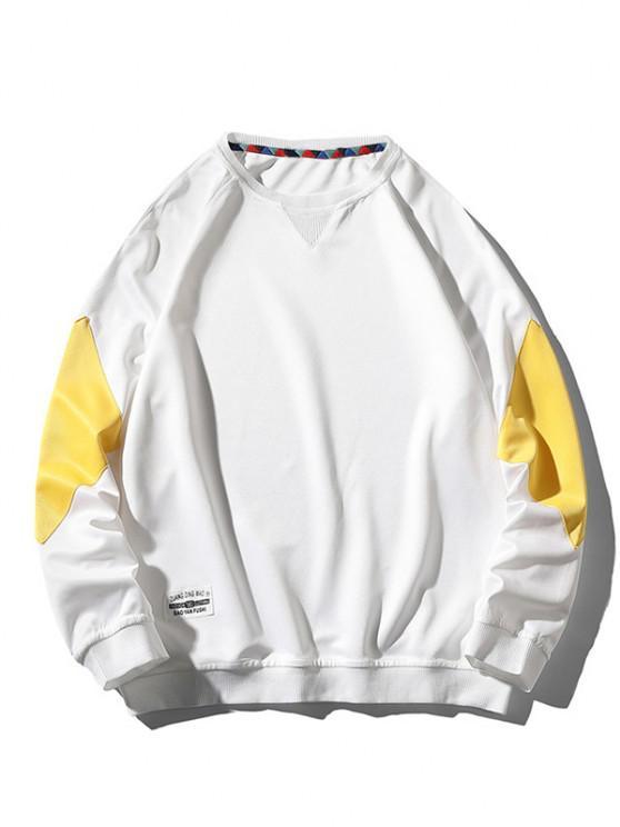 Raglan Sleeve Letter Applique Contrast Sweatshirt - أبيض XL