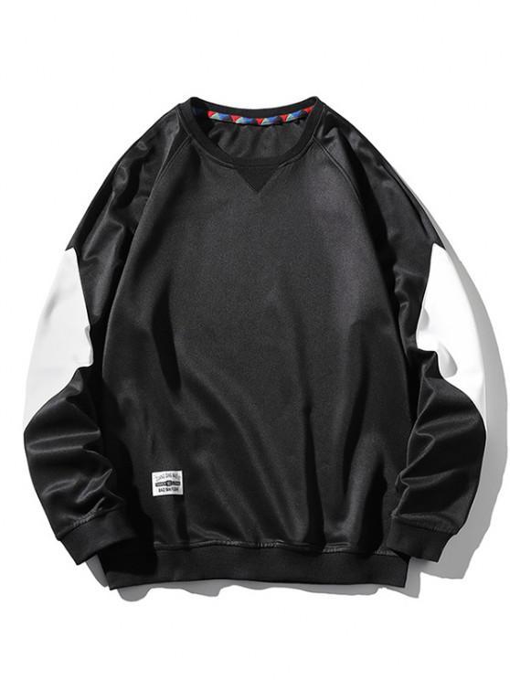 Raglan Sleeve Letter Applique Contrast Sweatshirt - أسود S