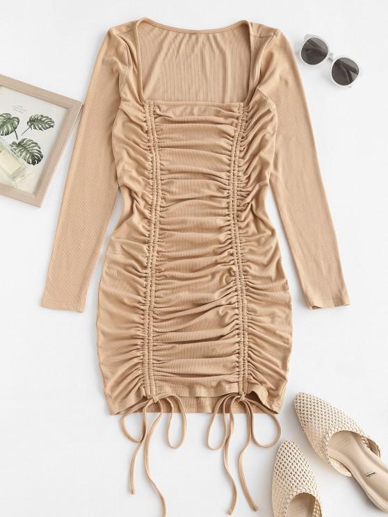 ladies ZAFUL Square Neck Cinched Mini Bodycon Dress - LIGHT COFFEE L