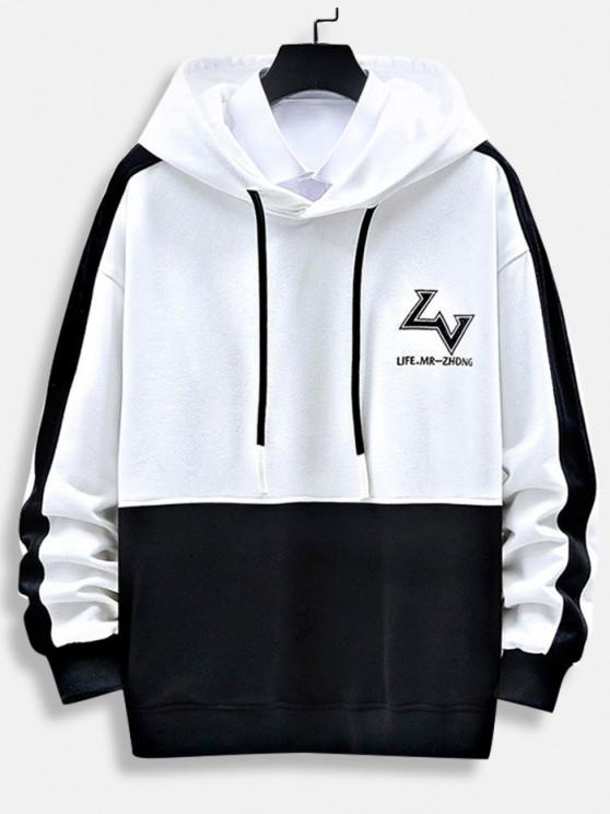 best Letter Print Graphic Embroidered Contrast Hoodie - WHITE 2XL